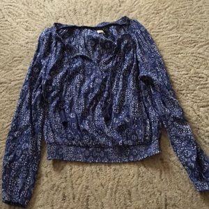 Hollister Blue Long Sleeve Blouse